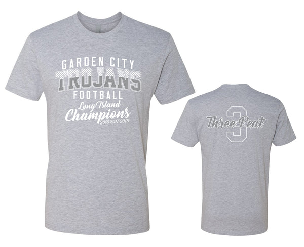 Unisex Trojans Garden City Football THREEPEAT Heather Gray Tee 3600