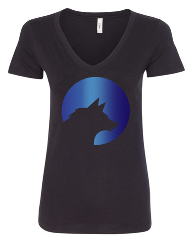 Wolf Capital Big Wolf Ladies V Neck Tee Design 5