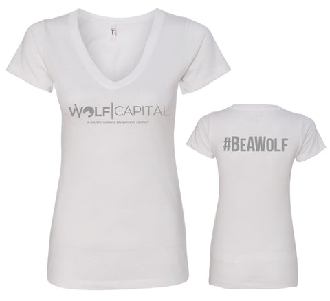 Wolf Capital Ladies V Neck Tee Design 3