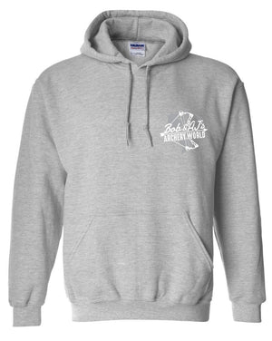 Bob And AJ Archery Unisex Hoodie White and Gray Logo