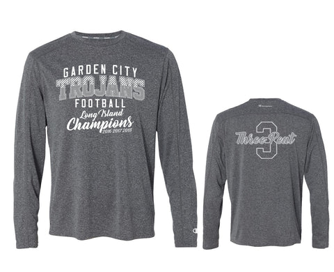 Unisex Trojan Garden City Football THREEPEAT Dry Fit Long Sleeve CV26
