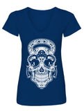 Gym Rat Sugar Skull Ladies V-Neck