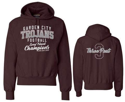 Unisex Trojans Garden City Football Heavy Maroon THREEPEAT Hoodie Champion S101