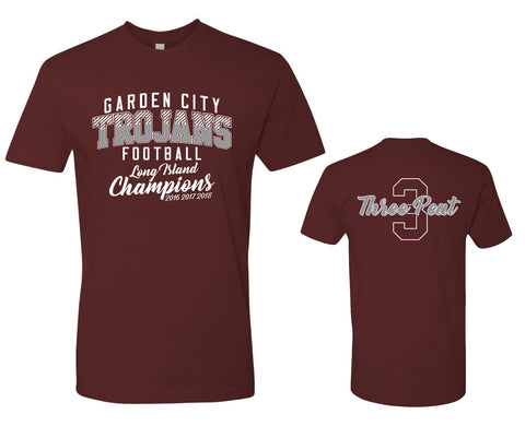 Unisex Trojans Garden City Football THREEPEAT Maroon Tee 3600
