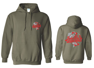 Bob And AJ Archery Unisex Hoodie Red and Gray