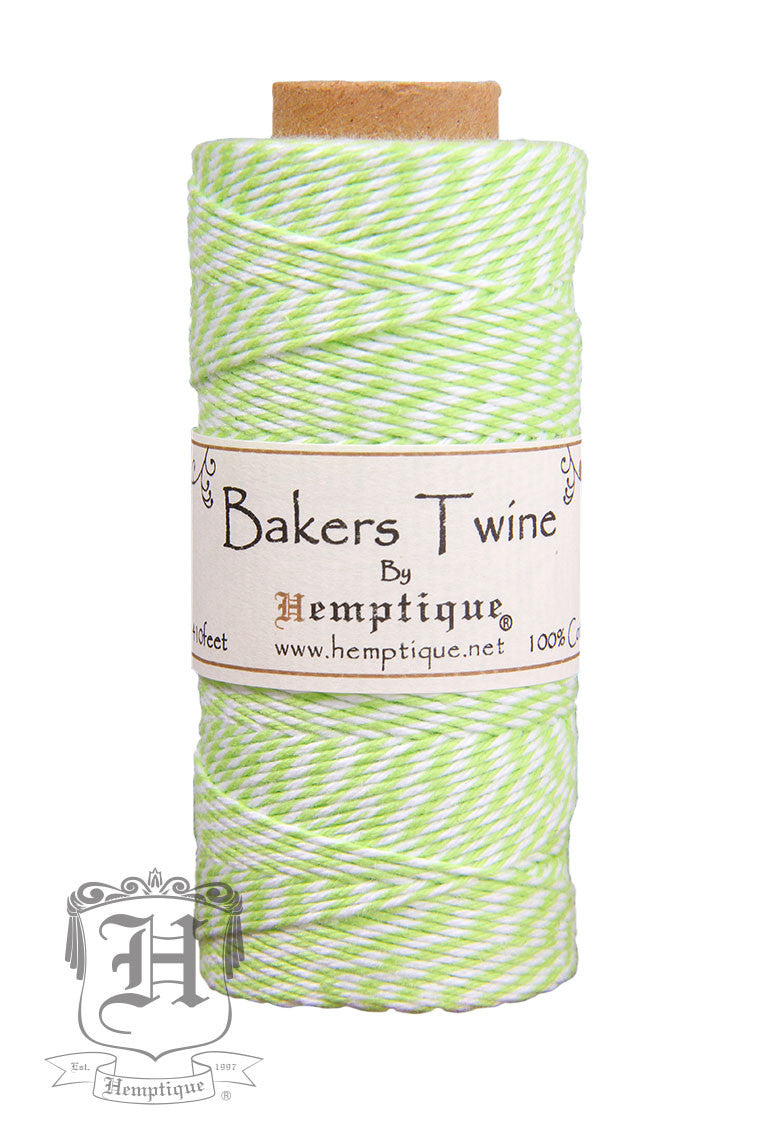 cotton bakers twine lime green white 2x2 ply hemptiquedev
