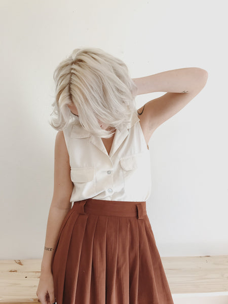 Rust Colored Pleated Skirt