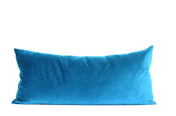 Petrol Velvet + Petrol Linen / Big Long Pillow