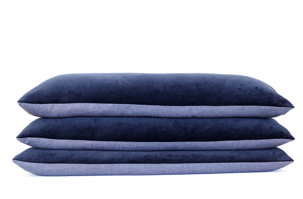 Navy Velvet + Navy Linen / Big Long Pillow
