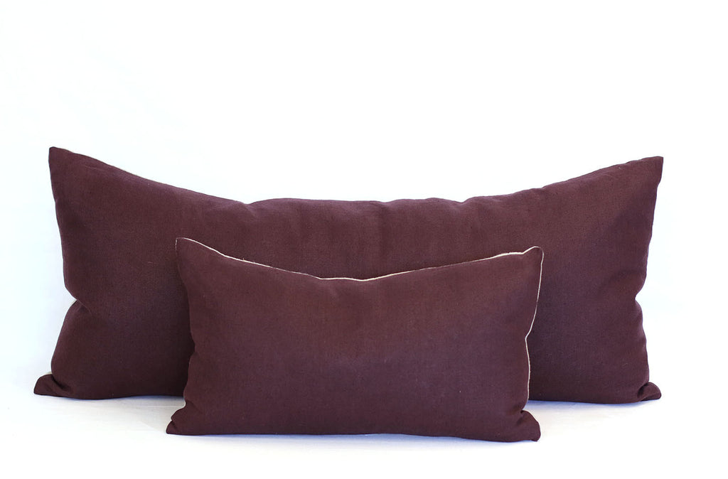 Aubergine Linen + Natural Linen / Small Rectangle