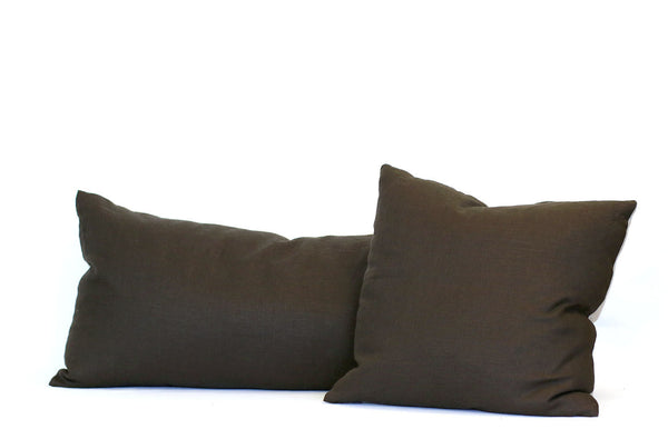 Chocolate Linen + Natural Linen / Big Long Pillow
