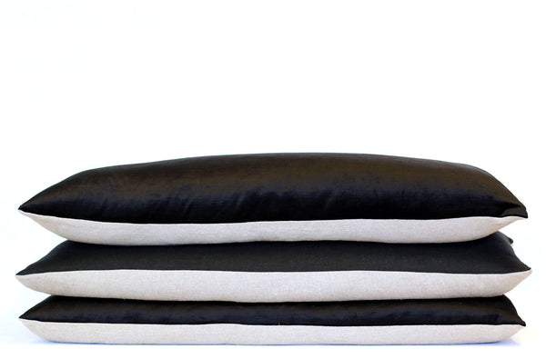 Black Velvet + Linen / Big Long Pillow