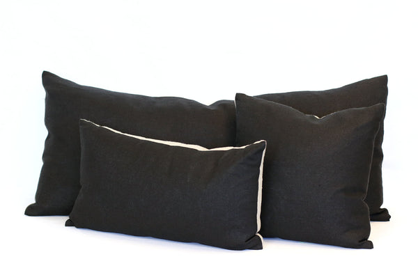 Black Linen + Natural Linen / Big Long Pillow