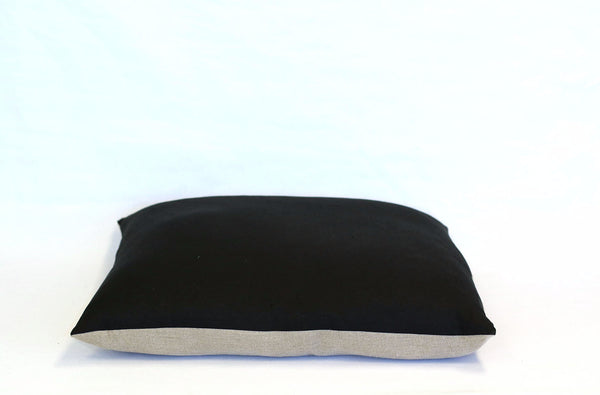 Black Linen + Natural Linen / Big Floor Pillow