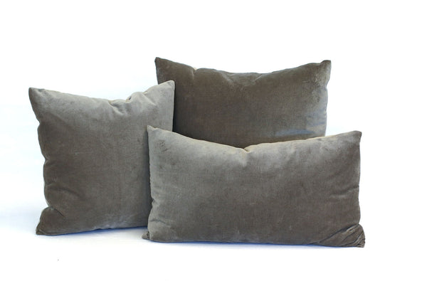 Charcoal Grey Velvet + Natural Linen / Medium and Small