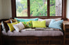 Tan Velvet + Green and White Linen / Big Long Pillow