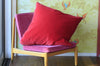 Cherry Velvet + Peach Linen / Big Floor Pillow