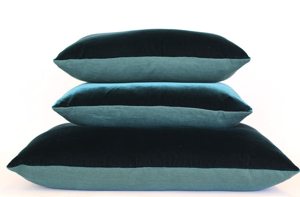 Peacock Velvet + Jade Linen / Big Floor Pillow