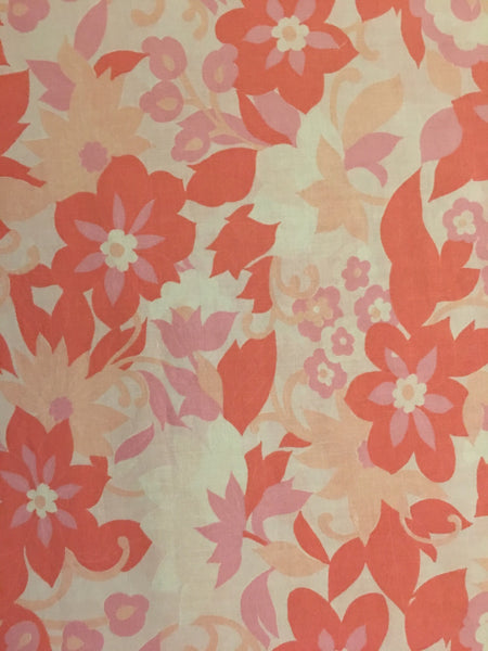 Vintage Danish /  Three pink floral print + Mint grid linen