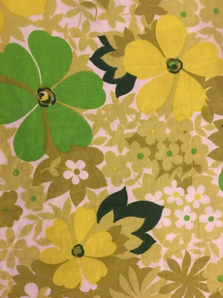 Vintage Danish / Green and Yellow floral print + Neon pink grid linen