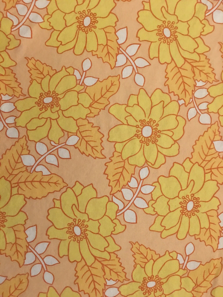 Vintage Danish / Peach with yellow flower print + Neon pink grid linen