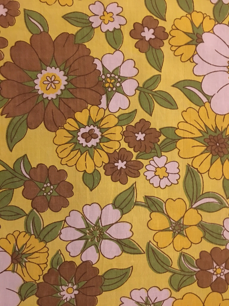 Vintage Danish / White, brown and yellow floral print + Neon pink grid linen