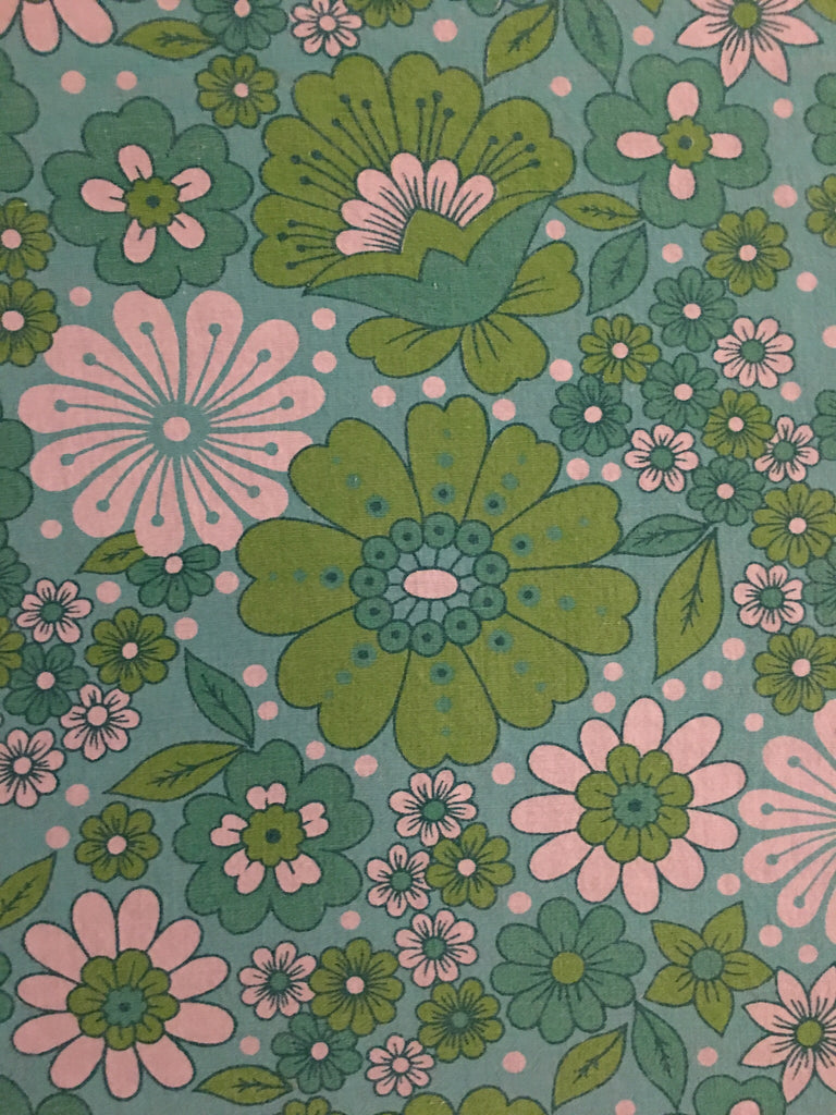 Vintage Danish / Green and aqua floral print + Neon pink grid linen