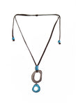 Blue grey tagua necklace handmade in the USA