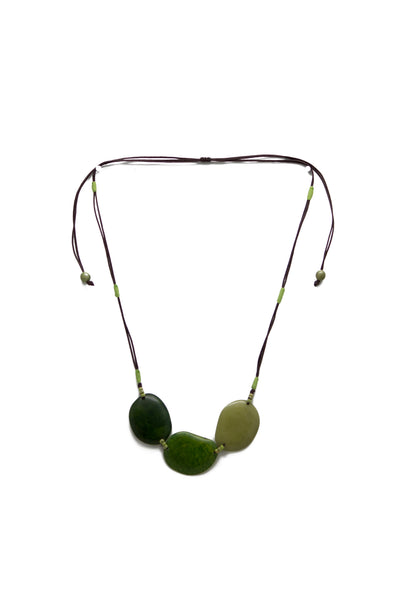 Fair trade, handmade tagua necklace in bamboo