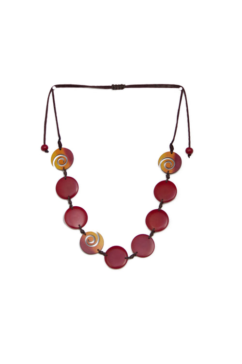 Tagua and tutumo spiral necklace in carmine