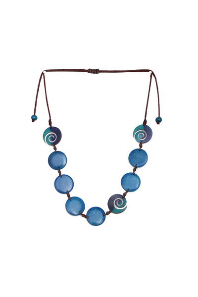 Tagua and tutumo spiral necklace in turquoise