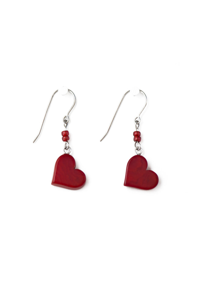 Lovely heart tagua, handmade earrings
