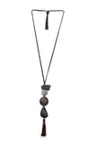 Batik tagua necklace with a tassel