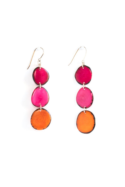 Fiesta Aurora earrings consist of 3 renewable tagua beads