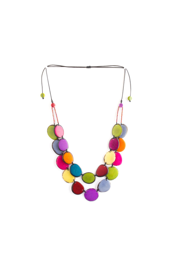 Rainbow Aurora necklace consists of beautiful renewable tagua beads