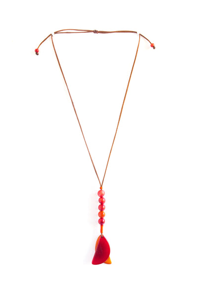 Cool and Airy Tagua Caminos Necklace in Sunset
