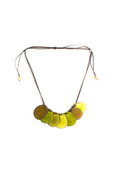 Handmade, tagua necklace in bamboo