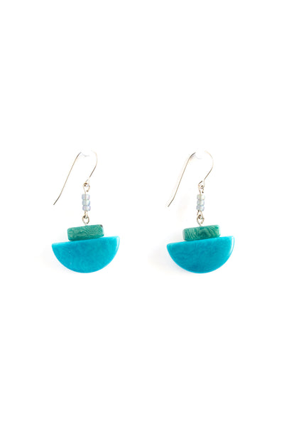 Miro tagua earrings in blue sea