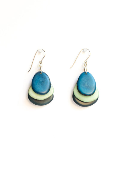 Hand made, colorful, tagua bead earrings