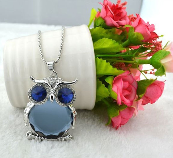 Blue Crystal Owl Pendant at Fashion In Punjab