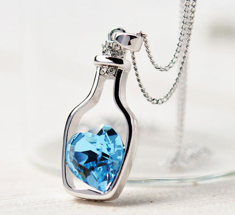 Blue Women's Crystal Love Heart Drift Bottle Pendant | Fashion In Punjab
