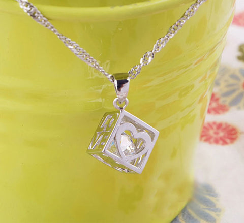 Love Hearts Cube Crystal Pendant | Fashion In Punjab