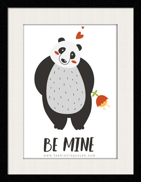 Be Mine Panda Style  - Framed Wall Art - Fashion In Punjab