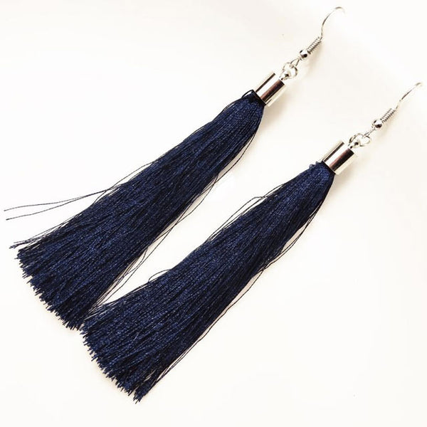 BLACK TASSEL EARRINGS - Fashion In Punjab