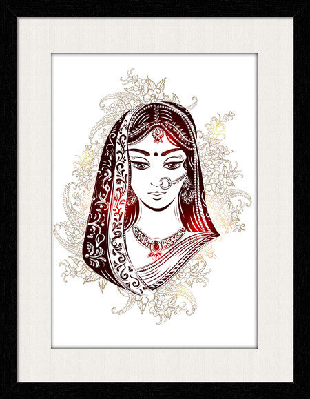 Bridal Face of Indian - Framed Wall Art by Fashion In Punjab