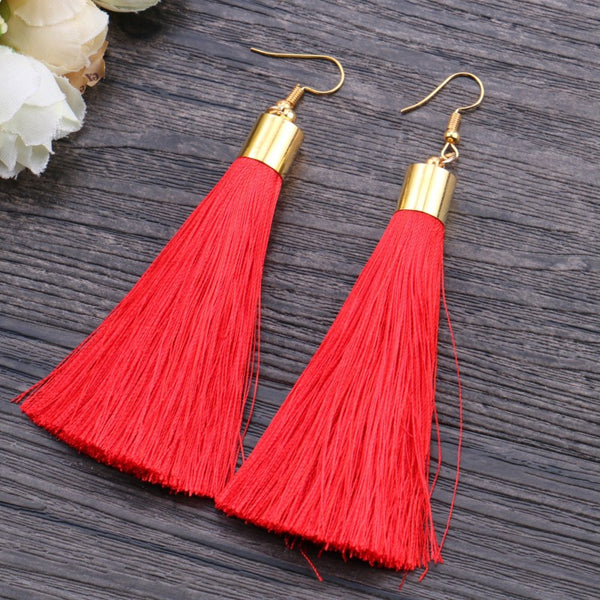 RED TASSEL EARRINGS - Fashion In Punjab