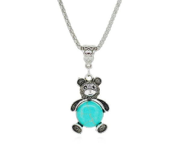 Bear Silver Plated Turquoise Pendant. - Fashion In Punjab