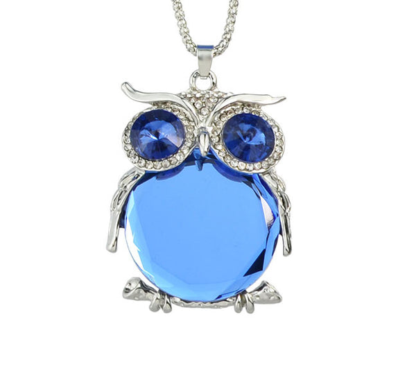 Blue Crystal Owl Pendant. - Fashion In Punjab