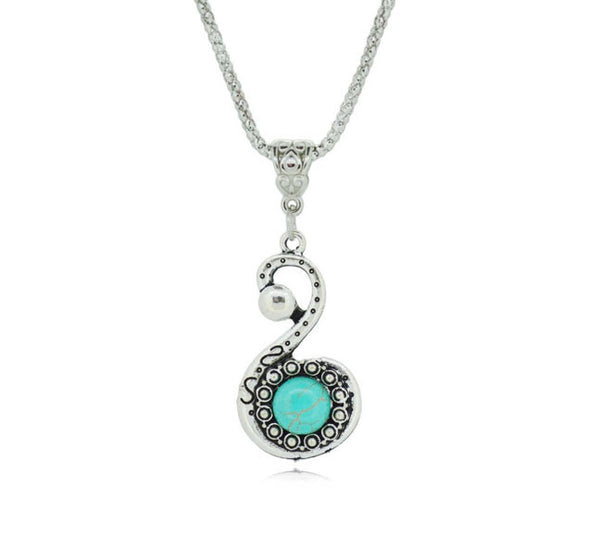 Elegant Swan Silver Plated Turquoise Pendant. - Fashion In Punjab