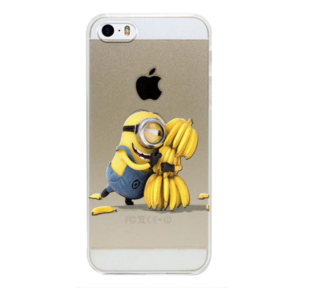 Minions with Bananas Design Transparent Cover For Apple iPhone 5, 5S, SE - Fashion In Punjab